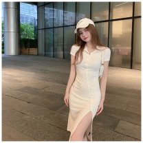 Dress longuette Short sleeve Three piece set commute Polo collar Solid color High waist Single breasted routine 25-29 years old Irregular skirt other Type H Other Korean version other Summer 2021 31% (inclusive) - 50% (inclusive) S,M
