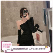 Dress Spring 2021 P89-d-black S,M,L Short skirt singleton  Long sleeves commute Slant collar Solid color routine Other / other Korean version other other
