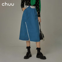 skirt Spring 2021 S M L Don't shoot the blue reserved space Mid length dress commute High waist A-line skirt Solid color Type A 18-24 years old More than 95% other chuu polyester fiber pocket Korean version Polyester 100% Same model in shopping mall (sold online and offline)