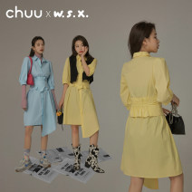 Dress Summer 2021 Average size Short skirt singleton  Sleeveless commute Polo collar High waist Solid color Single breasted other puff sleeve Others 18-24 years old Type A chuu Korean version More than 95% other other Other 100% Same model in shopping mall (sold online and offline)