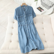 Dress Spring 2021 Denim blue M L XL longuette singleton  Short sleeve commute V-neck High waist Solid color Single breasted A-line skirt routine Others 25-29 years old Type A Spring poetry dream Korean version Button TF8885 More than 95% Denim other Other 100% Pure e-commerce (online only)