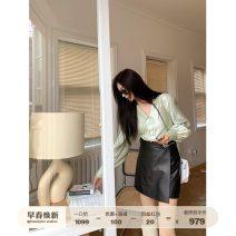 skirt Spring 2021 S,M,L Elegant black Short skirt commute High waist A-line skirt Solid color Type A 25-29 years old 2166-WP4101A More than 95% Sheepskin Fu Zhien Sheepskin Korean version