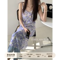 Dress Spring 2021 Oil purple S,M,L longuette singleton  Sleeveless commute middle-waisted Decor Socket A-line skirt camisole 25-29 years old Type A Fu Zhien Korean version 2166-055-2 More than 95% Silk and satin silk