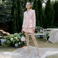 Fashion suit Autumn 2020 S,M,L High grade Pink (suit coat), high grade Pink (pleated skirt), high grade Pink (suit pants) 25-35 years old Ann teano AT20SS-J002PK 96% and above polyester fiber