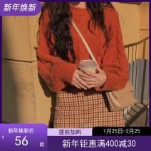Dress Autumn 2020 Orange sweater with plaid skirt, orange sweater XL,S,L,M