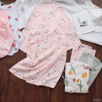Nightdress Other / other M, L sexy Nine point sleeve Leisure home longuette summer Plants and flowers youth V-neck cotton printing More than 95% pure cotton