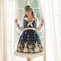 Dress Autumn of 2019 Cyan one piece OP dress + Hat S M L Mid length dress 18-24 years old Fennel Miss Rabbit blue More than 95% polyester fiber Polyester 100%