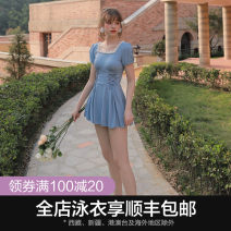one piece  Lu girl (outdoor sports) M L XL Light blue Skirt one piece With chest pad without steel support KB19104 Autumn of 2019 female Short sleeve Casual swimsuit