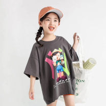 T-shirt Grey, white papaya juice neutral summer Short sleeve Korean version There are models in the real shooting nothing cotton Cartoon animation Cotton 100% Class B Sweat absorption 2, 3, 4, 5, 6, 7, 8, 9, 10, 11, 12, 13, 14 years old Chinese Mainland Zhejiang Province
