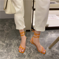Sandals 35,36,37,38,39 Apricot, yellow, black Superfine fiber Other / other Pinch toe Fine heel Middle heel (3-5cm) Summer 2020 Frenulum Korean version Solid color Adhesive shoes rubber daily Back space Low Gang Lateral space Microfiber skin Microfiber skin Roman shoes Film mulching
