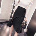 skirt Summer 2020 S M L XL 2XL Black red Mid length dress commute High waist skirt Solid color Type A 18-24 years old other Denim Sidi / daningsti Lotus leaf edge Ol style Pure e-commerce (online only)