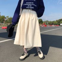 skirt Winter of 2018 Average size Black, Khaki commute High waist A-line skirt Solid color Type A 18-24 years old cotton Korean version
