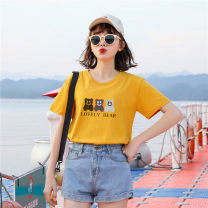 T-shirt White, yellow, red, purple, green, pink 3XL,S,M,L,XL,2XL Summer 2021 Short sleeve Crew neck Straight cylinder Regular routine commute cotton 96% and above 18-24 years old Simplicity other Animal design Other / other KY2028 printing