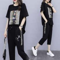 Dress Summer of 2019 Black, white L,XL,2XL,3XL,4XL longuette Short sleeve V-neck Elastic waist Socket Chiffon