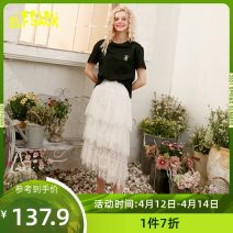 skirt Summer 2020 S,M,L Dream white Mid length dress Sweet High waist Cake skirt Type A 18-24 years old ten million two hundred and seventeen thousand and sixty More than 95% Elf sack / goblin's pocket other Lace princess
