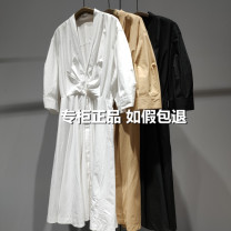 Dress Summer 2021 Ben Black / 001, apricot / 284, bleach / 101 XS/150,S/155,M/160,L/165,XL/170 JNBY / Jiangnan cloth clothing