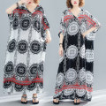 Women's large Summer of 2019 Big size average Dress singleton  commute easy thin Socket Abstract pattern literature V-neck printing and dyeing Bat sleeve four point zero three Other / other longuette