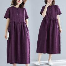 Women's large Summer 2020 Picture color Dress singleton  commute easy Short sleeve Solid color literature Crew neck Medium length Cotton, hemp routine Other / other Button Medium length other