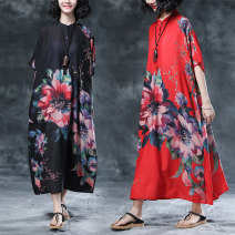 Women's large Summer 2020 Red, black One size fits all Dress singleton  commute easy thin Socket Short sleeve Plants and flowers ethnic style stand collar Medium length printing and dyeing routine Other / other Button 31% (inclusive) - 50% (inclusive) longuette other
