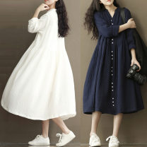 Women's large Spring 2021 White, Navy M [100-120 Jin], l [120-135 Jin], XL [135-150 Jin], XXL [150-180 Jin] Dress singleton  commute easy Solid color literature V-neck Medium length Cotton, hemp routine eight point one three Other / other Button Medium length other