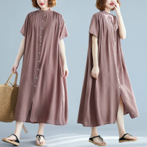 Women's large Summer 2021 Army green, coffee, apricot, gray, white, blue, black Big size average Dress singleton  commute easy thin Cardigan Short sleeve Solid color literature stand collar Medium length routine six point zero three Other / other Button longuette other