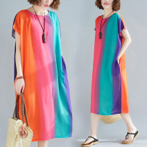 Women's large Summer 2021 Rainbow bar One size fits all [110-240 kg recommended] Dress singleton  commute easy Socket Short sleeve stripe literature Crew neck Medium length Cotton, polyester routine five point one three Other / other pocket Medium length other