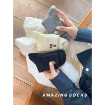 Socks / base socks / silk socks / leg socks female Other / other Black, gray, white 1 pair routine Middle cylinder autumn Simplicity Cartoon animation cotton hygroscopic and sweat releasing jacquard weave