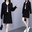 Women's large Autumn 2020 black Large L, large XL, 2XL, 3XL, 4XL Two piece set commute easy moderate Cardigan Long sleeves other Korean version other routine other Collage routine C4ijy5aa Other / other pocket Short skirt other