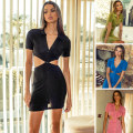 Dress Spring 2021 Green, black, blue, purple, pink 6,8,10,12,14 Short skirt singleton  Short sleeve street Polo collar High waist Solid color Single breasted One pace skirt routine Others 25-29 years old Type H RUNAWAY Hollowing out More than 95% other other Sports & Leisure