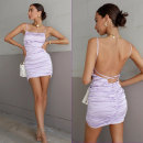 Dress Summer 2021 violet 6,8,10,12,14 Short skirt singleton  Sleeveless commute One word collar High waist Solid color Socket One pace skirt routine camisole 25-29 years old Type H RUNAWAY backless brocade polyester fiber