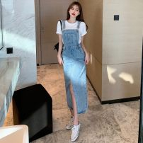 Dress Spring 2021 Blue black S M L longuette singleton  Sleeveless commute square neck High waist Solid color Socket A-line skirt straps 18-24 years old Type A Chinese characters Korean version More than 95% other other Triacetate fiber (triacetate fiber) 100%