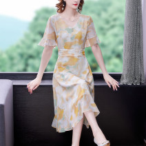 Dress Summer 2021 Light yellow S,M,L,XL,2XL,3XL Miniskirt singleton  Short sleeve commute V-neck middle-waisted Decor Socket A-line skirt Lotus leaf sleeve Others 30-34 years old Type A lady 31% (inclusive) - 50% (inclusive) Chiffon cotton