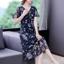 Dress Summer 2021 Navy Blue M,L,XL,2XL,3XL,4XL,5XL longuette singleton  Short sleeve commute Crew neck middle-waisted Socket Pleated skirt routine Others 30-34 years old Type A