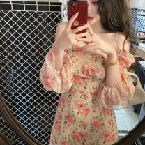 Women's large Spring 2021 Elegant pink, hazy black S M L XL Dress singleton  commute Socket Decor Korean version square neck one thousand and five . one Yingduo language 25-29 years old Medium length Other 100% Pure e-commerce (online only)
