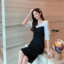 Women's large Summer 2021 Picture color S M L XL Dress singleton  commute Socket Short sleeve Solid color Retro square neck routine Yingduo language 25-29 years old Medium length Other 100% Pure e-commerce (online only) other zipper
