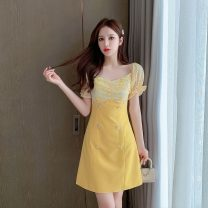 Women's large Summer 2020 Picture color S M L XL Dress Fake two pieces commute Socket Short sleeve Retro square neck pagoda sleeve Yingduo language 25-29 years old Middle-skirt Other 100% Pure e-commerce (online only) other zipper