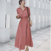 Women's large Autumn 2020 S M L XL Dress singleton  commute Socket Long sleeves Solid color Korean version Polo collar other routine Yingduo language 25-29 years old 81% (inclusive) - 90% (inclusive) longuette Other 100% Pure e-commerce (online only)