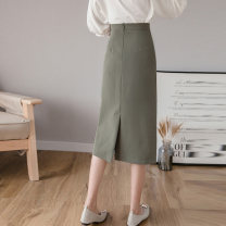 skirt Summer 2021 S,M,L,XL Yellow, army green, black Mid length dress Versatile High waist High waist skirt Solid color Type H 91% (inclusive) - 95% (inclusive) Other / other polyester fiber