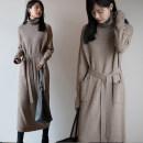Dress Winter 2020 Black, oatmeal, orange pink S,M,L,XL,2XL longuette Long sleeves commute High collar Loose waist Solid color Socket A-line skirt routine Type H Korean version knitting cotton