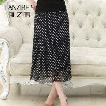 skirt Summer of 2018 L,XL,2XL Gray, black Mid length dress Versatile High waist A-line skirt Decor Type A 40-49 years old More than 95% knitting Lanzibes / lanzhibei silk