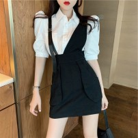 Women's large Summer 2021 White shirt + black strap skirt S M L Two piece set commute Short sleeve Solid color Korean version Polo collar puff sleeve Wu Ning 18-24 years old Short skirt Other 100% Pure e-commerce (online only) straps
