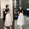 skirt Summer 2020 S,M,L White, black longuette commute High waist A-line skirt Solid color Type A 18-24 years old X5276 Pocket, lace up Korean version