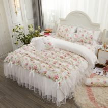 Bedding Set / four piece set / multi piece set cotton Embroidery Plants and flowers 133x72 Chinese parasol Others 4 pieces 40 All cotton four piece suit 1.5m (5 ft) bed, 1.8m (6 ft) bed Bed skirt Qualified products Princess style twill Reactive Print  Thermal storage