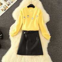 Fashion suit Autumn 2020 S,M,L,XL White sweater + black skirt, yellow sweater + black skirt, single yellow sweater, single white sweater, small black leather skirt 18-25 years old 9-8 71% (inclusive) - 80% (inclusive)
