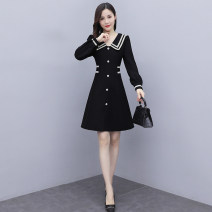 Women's large Spring 2021 Picture color Large L, large XL, 2XL, 3XL, 4XL, 5XL Dress singleton  commute Self cultivation thin Socket Long sleeves other Korean version V-neck Medium length other routine Other / other 35-39 years old Three dimensional decoration Medium length other