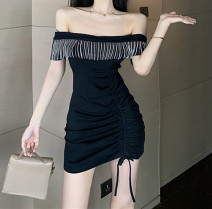 Dress Summer 2021 black S,M,L Short skirt singleton  Sleeveless Sweet One word collar High waist Solid color Socket One pace skirt routine Breast wrapping 18-24 years old Type X Other / other Pleats, fringes, open back, folds, lace 81% (inclusive) - 90% (inclusive) knitting nylon