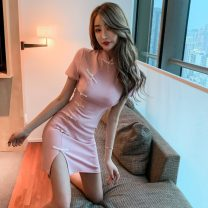 Dress Summer 2020 Pink S,M,L Short skirt singleton  Short sleeve commute stand collar High waist Solid color zipper One pace skirt routine Others 18-24 years old Type X Retro 30% and below