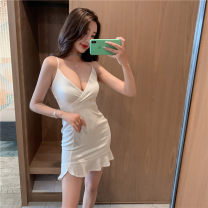 Dress Summer 2021 white S,M,L Short skirt singleton  Sleeveless commute V-neck High waist Solid color Socket Ruffle Skirt other Others 18-24 years old Type A Korean version Zipper, ruffle, open back 31% (inclusive) - 50% (inclusive)