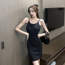 Dress Summer 2021 black S,M,L Short skirt singleton  Sleeveless commute Crew neck High waist Solid color zipper One pace skirt other camisole 18-24 years old Type X Korean version Open back, fold 30% and below