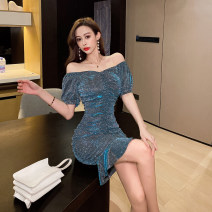 Dress Spring 2021 Color blue S,M,L Short skirt singleton  Short sleeve commute One word collar High waist Solid color Socket Ruffle Skirt puff sleeve Breast wrapping 18-24 years old Type X Korean version Pleating 30% and below